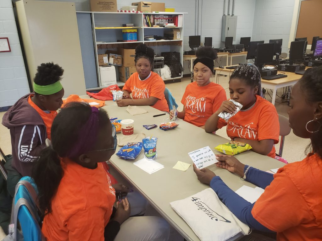 Group Leader Karen Correa with LIfe Skills Group at R.T. Cream Family School in Camden, NJ.